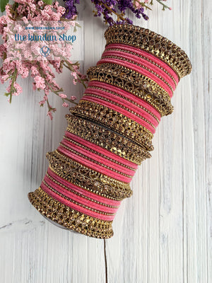 Light Pink Velvet & Bronze Bangle Set Bangles THE KUNDAN SHOP