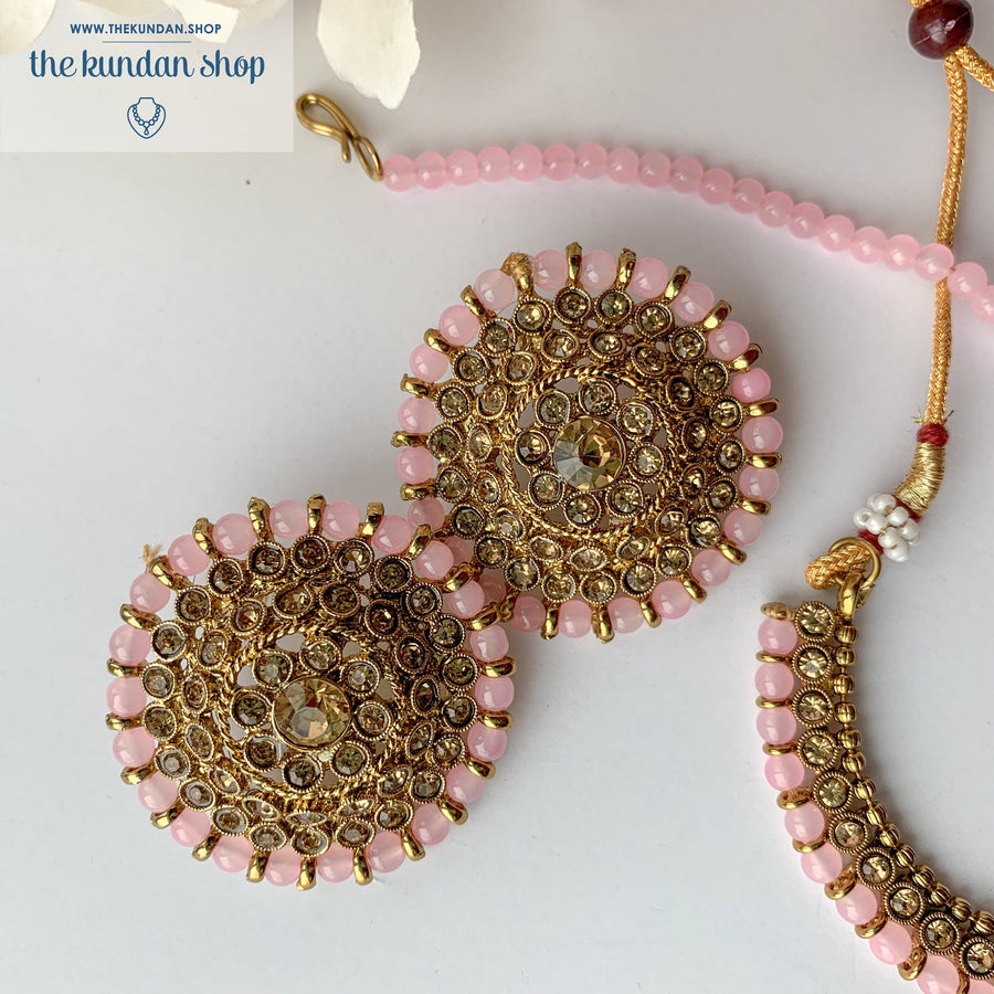 Line &  Studs - Light Pink, Necklace Sets - THE KUNDAN SHOP
