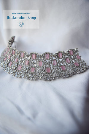 Radiate in Silver & Pink Necklace Sets THE KUNDAN SHOP