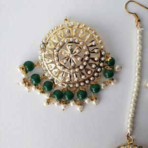 Green Round Jadau TIkka Stud, Earrings + Tikka - THE KUNDAN SHOP