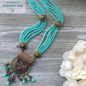 Endless Love - Cyan Necklace Sets THE KUNDAN SHOP