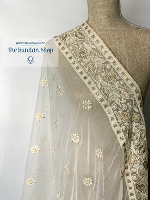 Foiled Leaves, Dupatta - THE KUNDAN SHOP