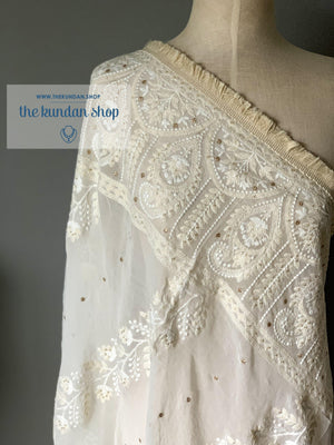 Lucknowi & Fringe, Dupatta - THE KUNDAN SHOP