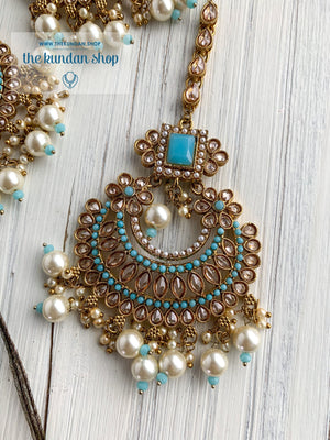 Endearing Polki in Light Blue THE KUNDAN SHOP