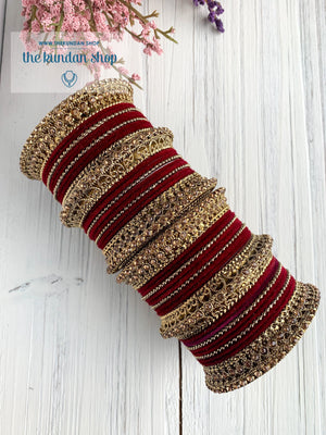 Maroon Velvet & Bronze Bangle Set Bangles THE KUNDAN SHOP
