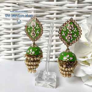 Layers in Paint Earrings THE KUNDAN SHOP Green