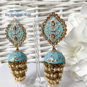 Layers in Paint Earrings THE KUNDAN SHOP Sky Blue