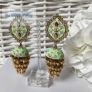 Layers in Paint Earrings THE KUNDAN SHOP Mint Green