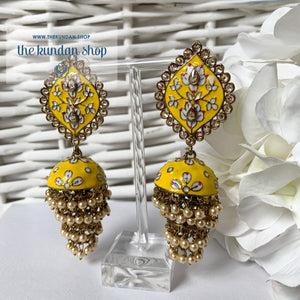 Layers in Paint Earrings THE KUNDAN SHOP Yellow