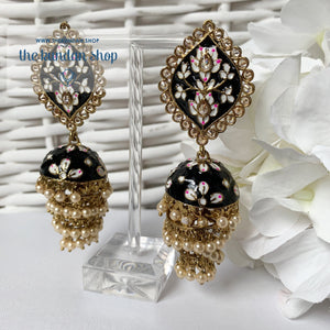 Layers in Paint Earrings THE KUNDAN SHOP Black