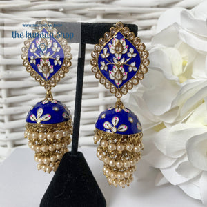 Layers in Paint Earrings THE KUNDAN SHOP Dark Blue