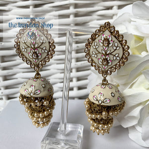 Layers in Paint Earrings THE KUNDAN SHOP Cream