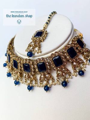 Valiant in Midnight Blue Necklace Sets THE KUNDAN SHOP