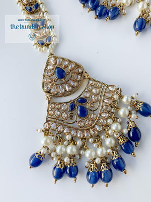 Locked In, In Midnight Blue Necklace Sets THE KUNDAN SHOP