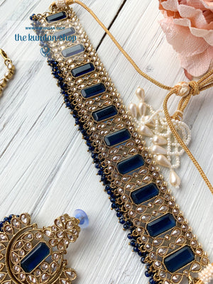 Poised in Midnight Blue Necklace Sets THE KUNDAN SHOP