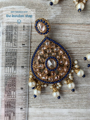 Dignify Set in Midnight Blue Necklace Sets THE KUNDAN SHOP