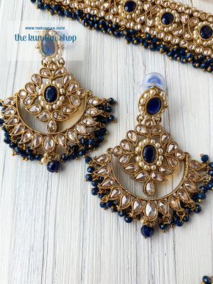 Sparkling in Midnight Blue Necklace Sets THE KUNDAN SHOP