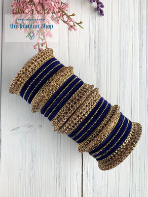 Midnight Blue Velvet & Bronze Bangle Set Bangles THE KUNDAN SHOP