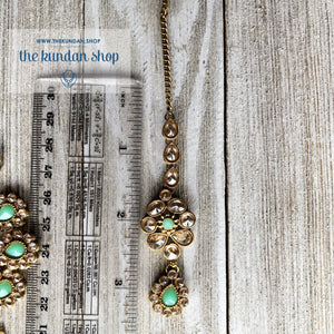 Hanging Stones - Mint, Necklace Sets - THE KUNDAN SHOP