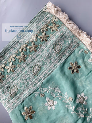 Around In Petals - Mint, Dupatta - THE KUNDAN SHOP