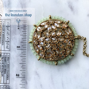 A Mint Sparkle, Earrings + Tikka - THE KUNDAN SHOP