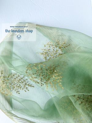 Leaf It - Mint Stole, Dupatta - THE KUNDAN SHOP