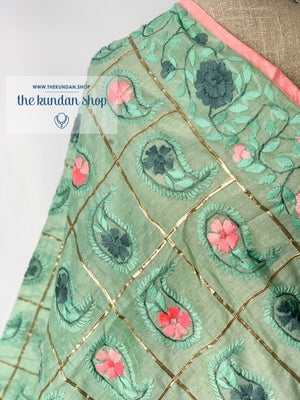 Sweetheart Pink & Mint, Dupatta - THE KUNDAN SHOP