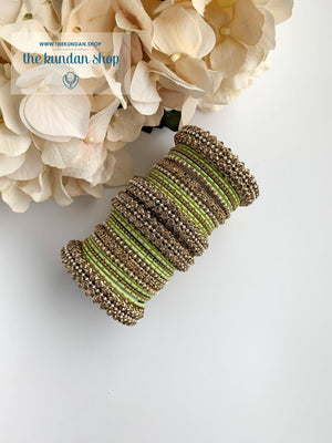 Dotted Bangle Set in Pearl & Mint Bangles THE KUNDAN SHOP