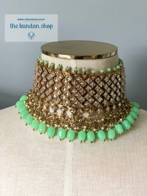 Champagne Statements in Mint Necklace Sets THE KUNDAN SHOP