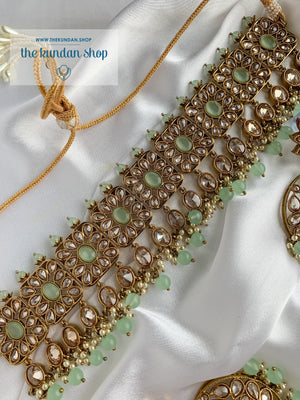 Expectations in Mint Necklace Sets THE KUNDAN SHOP