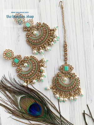 Endearing Polki in Mint THE KUNDAN SHOP