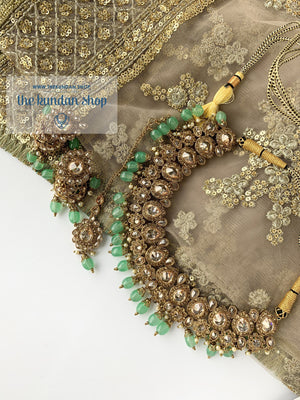 Raindrop Polki Choker - Mint, Necklace Sets - THE KUNDAN SHOP