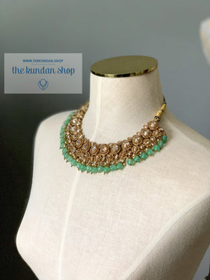 Raindrop Polki Choker - Mint Necklace Sets THE KUNDAN SHOP