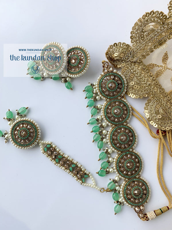 Spirited in Mint Necklace Sets THE KUNDAN SHOP