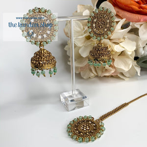Mint Green & Rhinestones, Earrings + Tikka - THE KUNDAN SHOP