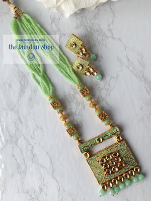 Mint Statement Square Pendant, Necklace Sets - THE KUNDAN SHOP