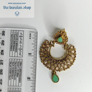 Rock the Tikka - Champagne Mint, Earrings + Tikka - THE KUNDAN SHOP