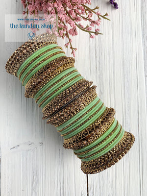 Mint Velvet & Bronze Bangle Set Bangles THE KUNDAN SHOP