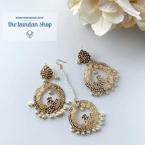 Hidden Peacock, Earrings + Tikka - THE KUNDAN SHOP