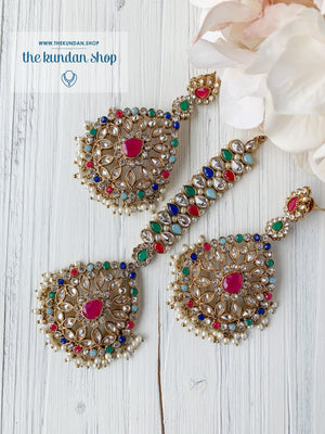Infinite Love in Multi Earrings + Tikka THE KUNDAN SHOP