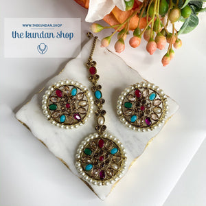 Pearl Border in Multi, Earrings + Tikka - THE KUNDAN SHOP
