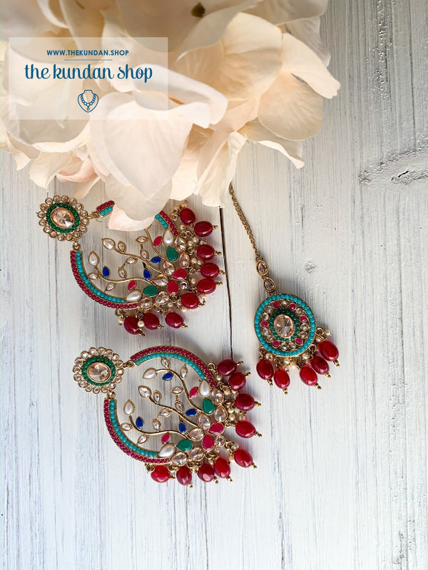 Smooth Move - Multi-color, Earrings + Tikka - THE KUNDAN SHOP