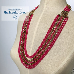 Mystic In Bright Pink, Necklace Sets - THE KUNDAN SHOP