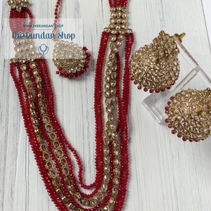 Mystic In Red, Necklace Sets - THE KUNDAN SHOP
