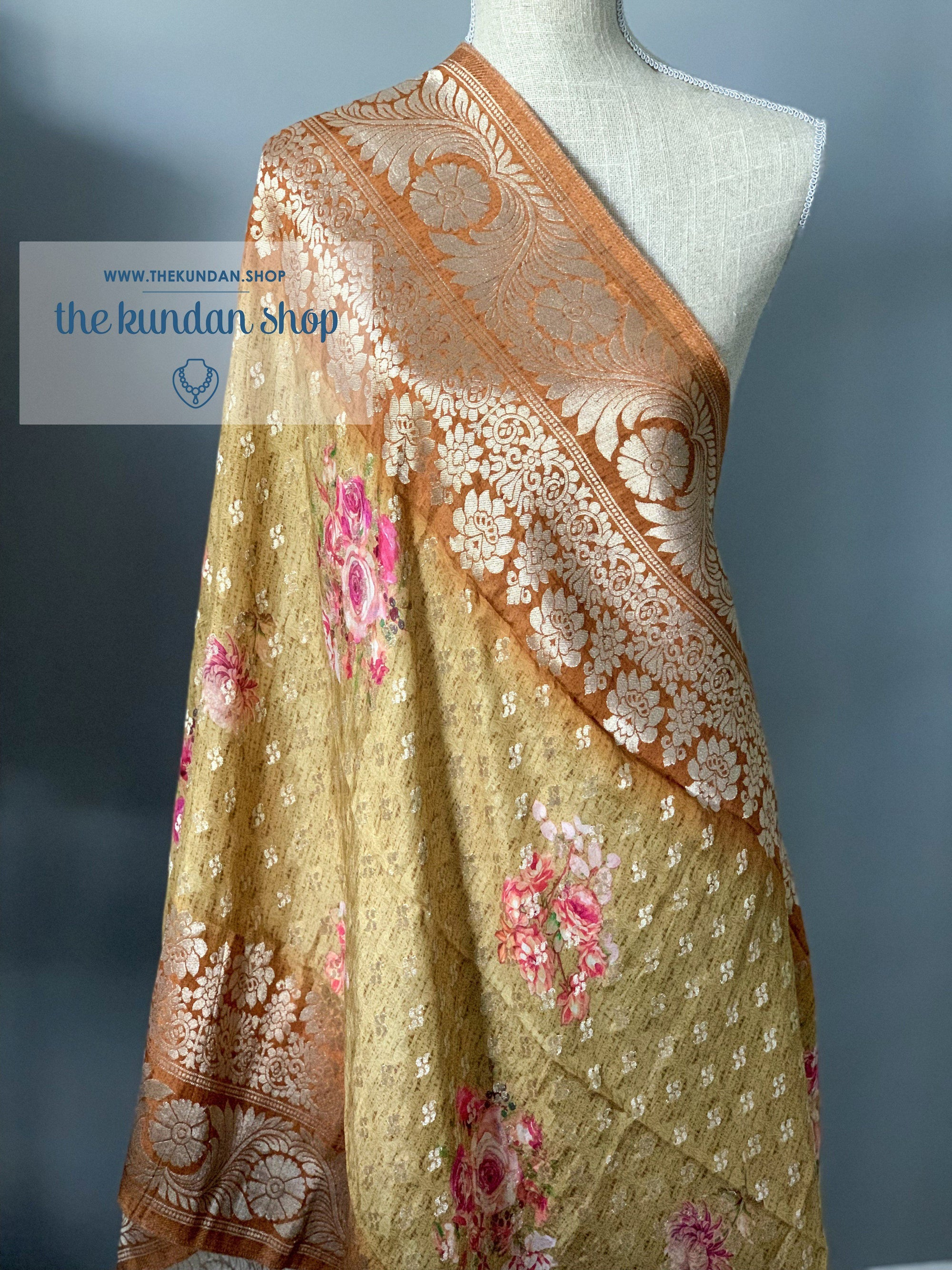 Banarsi Floral - Mustard Yellow, Dupatta - THE KUNDAN SHOP