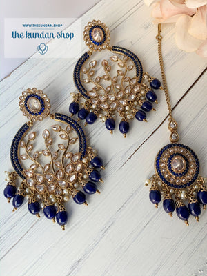 Smooth Move - Navy, Earrings + Tikka - THE KUNDAN SHOP