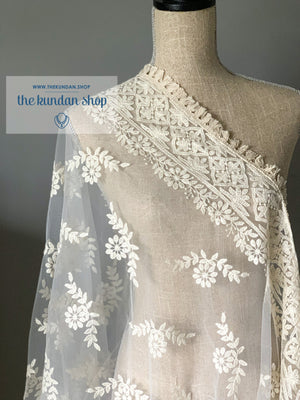 A Vine of White Flowers, Dupatta - THE KUNDAN SHOP