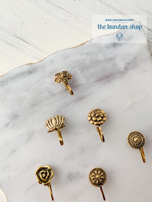 Oxidized Gold Nose Clips, Naath - THE KUNDAN SHOP