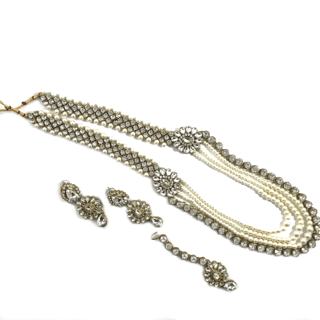 Floral Stoned Raani Haar Set, Necklace Sets - THE KUNDAN SHOP