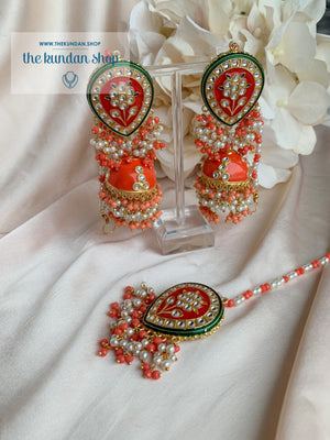 Ironic in Orange Coral Earrings + Tikka THE KUNDAN SHOP